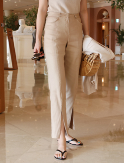 Slit linen slacks ; 2 color