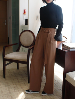 Belt long slacks ; 2 color