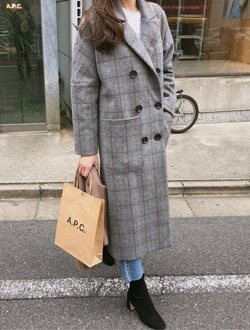 Maxi check coat ; 2 color  입고지연 !