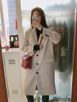 London check long coat ; 2 color