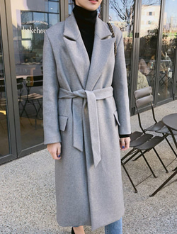 Strap wool coat ; 3 color